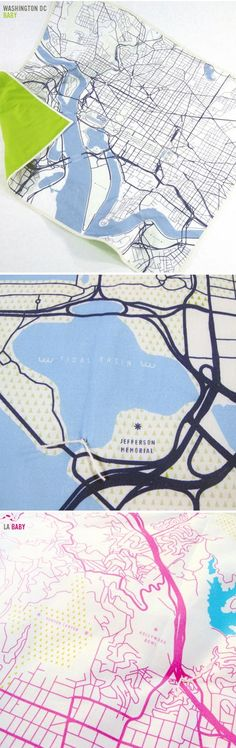 city map quilts by haptic lab - baby blankets