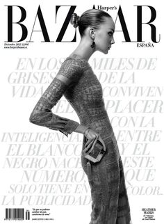 Cover with Heather Marks December 2012 of ES based magazine Harper's Bazaar Spain from Hearst Corporation including details. Magazine Vogue, Magazine Wall, Fashion Magazine Cover, Fashion Cover, Magazine Cover Design, Vogue Covers, Revista Bazaar, Vanity Fair, Rodrigo Sanchez
