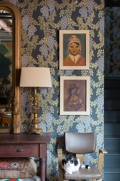 Photo Credit: Patricia Lyons . The couple covered the first floor in Farrow & Ball wallpaper.