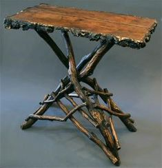 Antique black forest Carved tree branch table furniture