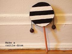 сделать картонный барабан погремушка музыкальная игрушка для детей