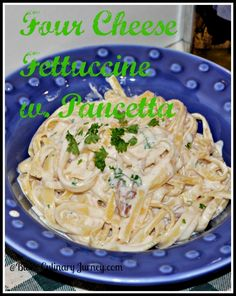 Four Cheese Fettuccine with Pancetta - creamy pasta dish ready in minutes