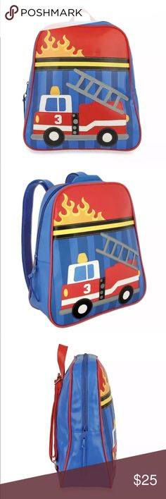 "Stephen Joseph Kids Fire Truck Backpack Blue Red Stephen Joseph Kids Fire Truck Backpack Blue Red Yellow Cool Firetruck Backpack for toddlers, preschool and kindergarten, for the little one on the go.  Roomy interior that is great for carrying coloring books, school papers and a change of clothes. Has interior zippered pocket. Durable vinyl construction, easy to clean.  Backpack has adjustable straps and hanging hook. 12"" wide X 13.25"" tall X 4"" deep. It is large enough to hold a standard…"