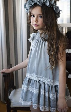 I kinda like this for a flower girl dress The Perfect Shade of Powdery Blue — Flowergirl Trends Fashion Kids, Little Girl Fashion, Retro Fashion, Korean Fashion, Little Girl Dresses, Girls Dresses, Flower Girl Dresses, Flower Girls, Look Girl