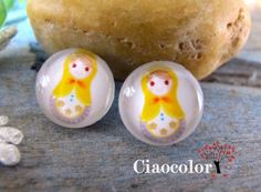 Russian Doll  8 x  Handmade Photo Glass Cabs by ciaocolor on Etsy, $2.40