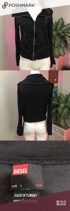DIESEL SZ L SWEATER EMBROIDERED CUTE BLACK Cute black sweater by diesel Diesel Sweaters