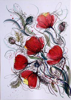 Red poppies wall art flower painting Original art by coloribli