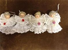 FOUR ANGEL CHRISTMAS ORNAMENTS Lace and Wood VINTAGE               BBN108