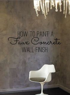 DIY Home Decor: How To Paint a Faux Concrete Wall Finish A few years ago I wrote about a distressed glazing technique which has a distressed feel to it, a way we developed to add visual texture to your walls that doesn't like a stock rag rolling. Diy Wand, Textures Murales, Mur Diy, Faux Walls, Glazing Techniques, Paint Techniques Wall, Faux Painting Techniques, Distressed Walls, Cement Walls