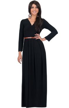 3528c466c3ae2 KOH KOH Womens Long Sleeve VNeck Formal Fall Cocktail Evening Gown Elegant  Semi Formal Work Office Modest Vintage Classic Muslim Maxi Dress Color  Black Size ...