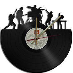 Rock Band Theme Wall clock Upcycled vinyl records by geoartcrafts, Unusual Clocks, Cool Clocks, Vinyl Record Clock, Vinyl Records, Music Is My Escape, Clock Art, Music Pics, Music Decor, Vinyl Art