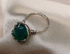 Aquatic glass and sterling silver ring, size 6.5.