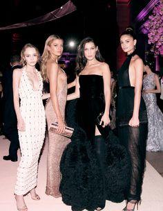 "runwayandbeauty: "" Lily-Rose Depp, Stella Maxwell, Bella Hadid & Taylor Hill - Met Gala 2016 (Inside) """
