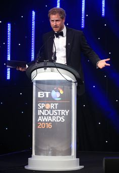 Prince Harry speaks at the BT Sport Industry Awards 2016 at Battersea Evolution on April 28, 2016 in London, England. The BT Sport Industry Awards is the most prestigious commercial sports awards ceremony in Europe, where over 1750 of the industry's key decision-makers mix with high profile sporting celebrities for the most important networking occasion in the sport business calendar.