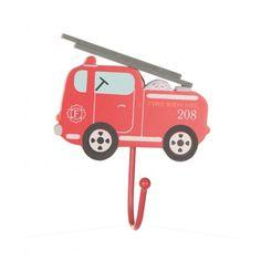 Kapstokhaak brandweerauto, Sass & Belle #kapstokhaakje #brandweer #sassandbelle #jongenskamer
