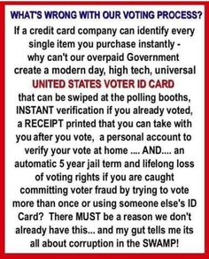 The Democrats have been denying need of voter ID . Wonder why? Political Quotes, Political Views, Voting Process, Voter Id, Conservative Politics, Truth Hurts, Thought Provoking, In This World, Things To Think About