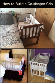Parents with newborn babies can sleep better at night with their babies with this DIY co-sleeper. Bedside Bassinet Co Sleeper, Co Sleeper Crib, Baby Bassinet, Diy Toddler Bed, Baby Crib Diy, Baby Cribs, Baby Bedding, Side Bed Crib, Baby Side Bed
