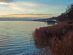 Looking southly to the Alps at the Ammersee in Bavaria, Germany.