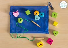 Busy bags for toddlers - wooden bead threading toddler busy bags, toddler c Toddler Busy Bags, Toddler Car, Toddler Travel, Kids Bags, Travel With Kids, Toddler Stuff, Kid Stuff, Cabin In The Woods, Busy Boxes