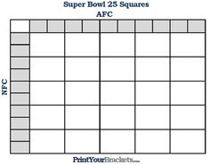 Printable Super Bowl Squares 25 Grid Office Pool Superbowl Football Box