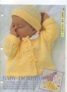 Easy Dolman style baby jacket - worked in one piece, body and sleeves together, either fronts to back or back to fronts. ~~ Creative Needles knitting pattern (ID number not available).