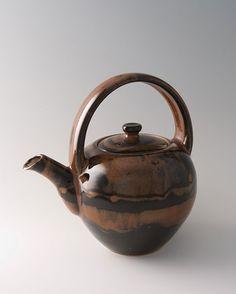 "Yoshinori Hagiwara, Teapot, kaki glaze, stoneware, 9.5 x 9 x 6.75"""