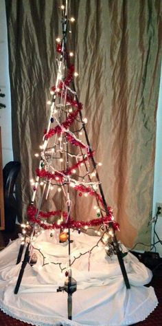 Fishing pole christmas tree.                                                                                                                                                                                 More