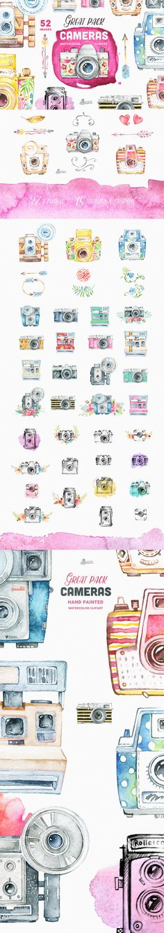 Camera watercolour illustrations - The Digital Designer's Artistic Toolkit