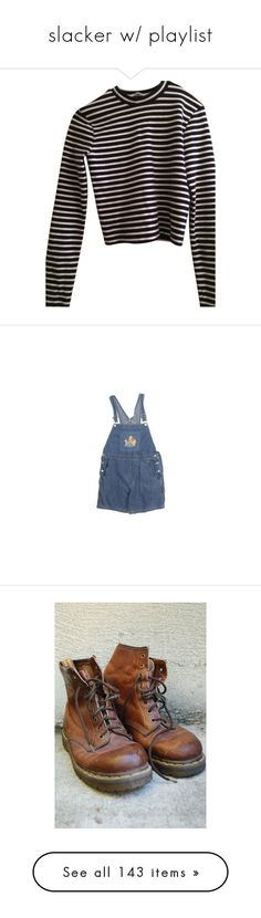 """""""slacker w/ playlist"""" by grrls ❤ liked on Polyvore featuring tops, shirts, sweaters, long sleeves, navy and white, long sleeve crop top, striped tops, striped crop top, navy and white striped shirt and long sleeve stripe shirt"""