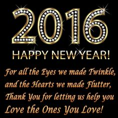 One of the greatest joys of the season is the opportunity to say THANK YOU and to wish you the very best for the New Year. May 2016 be your best year yet!