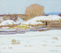 """Winter in Taos,"" E. Martin Hennings, oil on canvas laid on board, 12 x 14"", private collection."