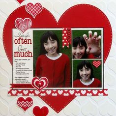 Image result for Valentine's scrapbook layout