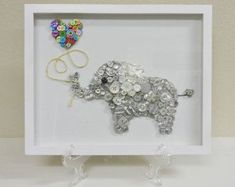 Elephant Love Framed Nursery Button Art by CustomsByCristina Button Art, Button Crafts, Button Canvas, Diy And Crafts, Crafts For Kids, Arts And Crafts, Yarn Crafts, Handmade Crafts, Sewing Crafts