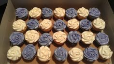 Purple and white wedding shower cupcakes