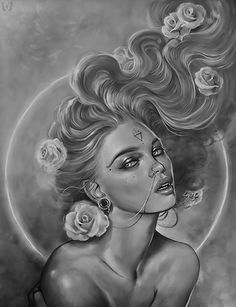 "Art by Marta Adan. - Woman and roses in black/white. - Board ""Art-Marta Adan"". -"