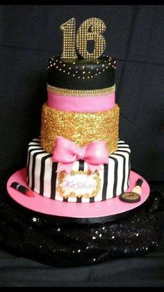 Pink and black glam birthday party cake! See more party ideas at CatchMyParty.com!