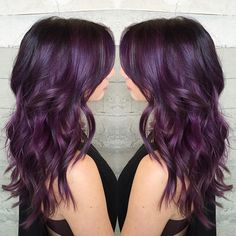 the Gateway Drug Color. By Butterfly Loft stylist Alexis - Hair - Hair Dark Purple Hair, Plum Hair, White Hair, Violet Brown Hair, Bad Hair, Hair Day, Dipped Hair, Neon Hair, Hair Color And Cut