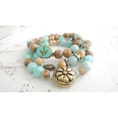 Amazonite and Tibetan Brass Bracelet Semiprecious Gemstone Bracelet... (13.320 HUF) ❤ liked on Polyvore featuring jewelry, bracelets, turquoise bangle, semi precious stone jewellery, boho bangles, turquoise jewelry and semi precious gemstone jewelry