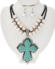 Western COWGIRL Silver Beads Crystal Chunky Turquoise CROSS Necklace Earrings in Jewellery & Watches, Costume Jewellery, Sets | eBay