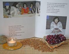 Kijktafel voor een Eerste Communie feest: Zoals de graankorrels samenkomen in het ene brood en de druiven samen in de wijn. Zo vormen wij allen het ene lichaam van Christus.