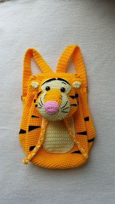 Tiger Crochet Backpack birthday gift christmas by Solutions2511 / FINISHED PRODUCT for sale / Tigger! / what child wouldn't love him!