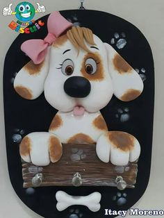 Dog Crafts, Clay Crafts, Arts And Crafts, Paper Crafts, Fondant Dog, Fondant Toppers, 1 Tier Cake, Tiered Cakes, Polymer Clay Projects