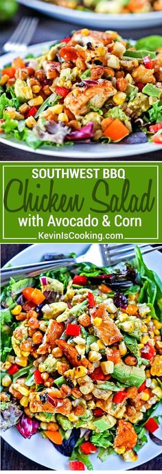 This Southwest BBQ Chicken Salad has it all from grilled corn & BBQ chicken, avocado, bell peppers and dried apricots. A lime and honey dressing makes it! via @keviniscooking