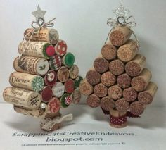 Christmas Craft: Wine cork Christmas Trees. Great decorations!