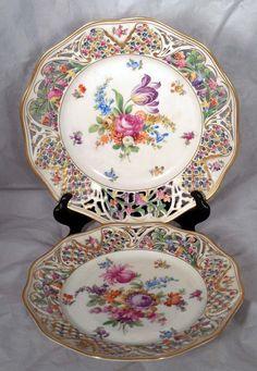 2 German Bavarian Dresden Schumann Pierced Porcelain Reticulated Plates #Schumann