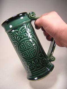Celtic Beer Stein - Forest Green Glaze (24oz). $35.00, via Etsy.