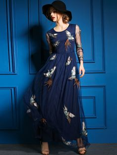ewheat Paneled Mesh Maxi Dress with embroidered birds