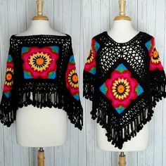 Poncho Boho Gypsy Frida Kahlo Inspired Flower Child by MarieX3