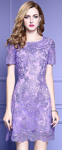 Elegant O-Neck Short Sleeve Embroidery A-Line Dress