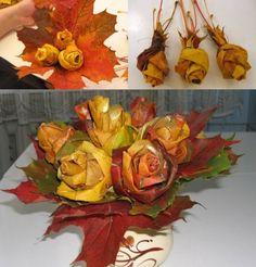 Как сделать розы из кленовых листьев: осенние поделки